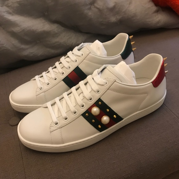 Gucci New Ace Leather Pearl Studded Sneakers